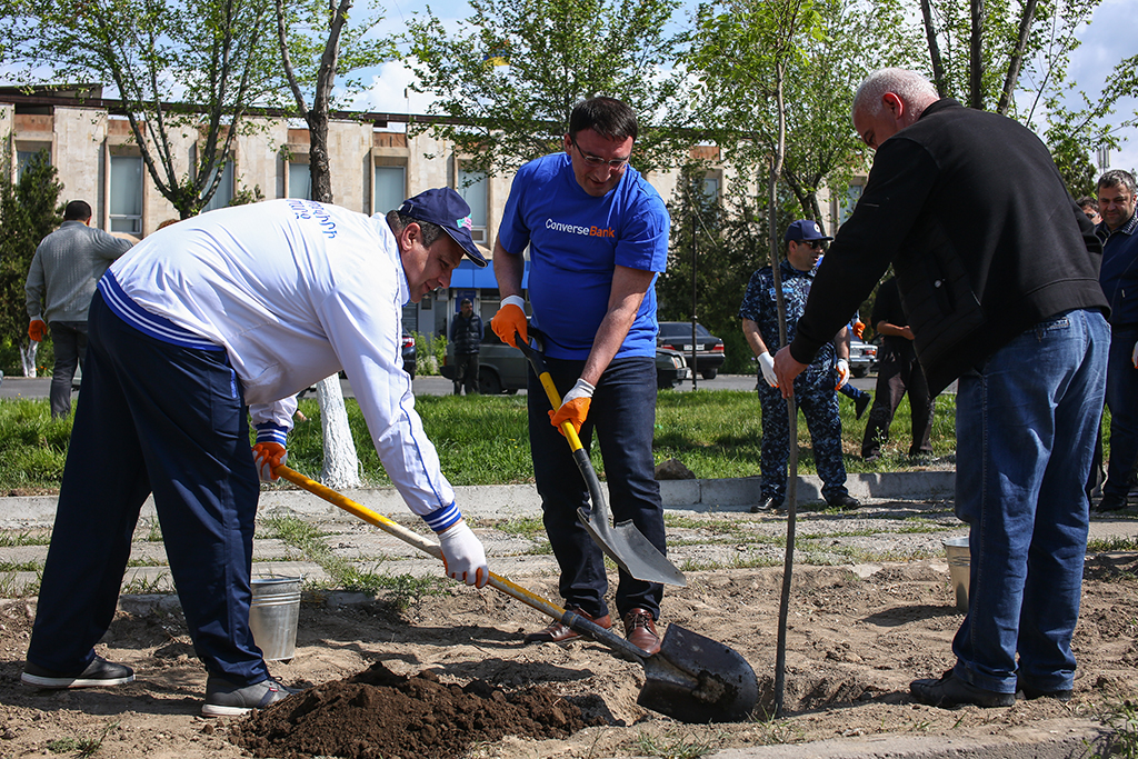 Converse Bank managers and employees took part in the republican Saturday clean-up