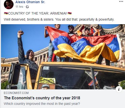 Ալեքսիս Օհանյանի շնորհավորանքը՝ Հայաստանը տարվա երկիր ճանաչվելու առթիվ