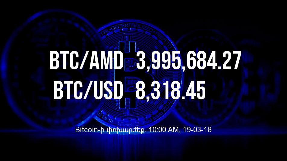 Bitcoin-ի փոխարժեքն աճել է – 19/03/18