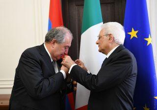 Արմեն Սարգսյանը պարգևատրվել է Իտալիայի Հանրապետության բարձրագույն՝ «Մեծ խաչի ասպետ» ժապավենակիր շքանշանով
