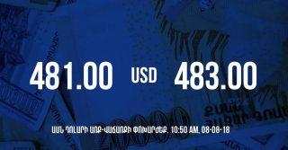 Դրամի փոխարժեքը 10:50-ի դրությամբ – 08/08/18
