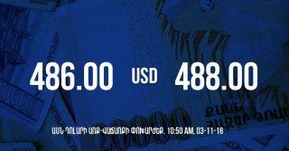 Դրամի փոխարժեքը 10:50-ի դրությամբ – 03/11/18