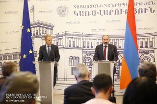 Հայաստանի վարչապետը և Եվրոպական խորհրդի նախագահը հանդես են եկել երկկողմ բանակցությունների արդյունքներն ամփոփող հայտարարություններով