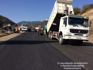 Շարունակվում են Մ-4 միջպետական նշանակության Երևան-Սևան-Իջևան-հայ-ադրբեջանական սահման 10,8 կմ երկարությամբ ճանապարհահատվածի նորոգման աշխատանքները