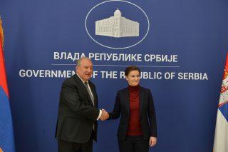 Հայաստանի նախագահ Արմեն Սարգսյանը հանդիպել է Սերբիայի վարչապետ Անա Բռնաբիչի հետ