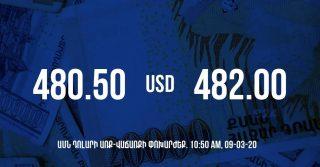 Դրամի փոխարժեքը 10:50-ի դրությամբ – 09/03/20