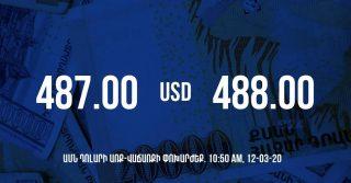 Դրամի փոխարժեքը 17:50-ի դրությամբ – 12/03/20