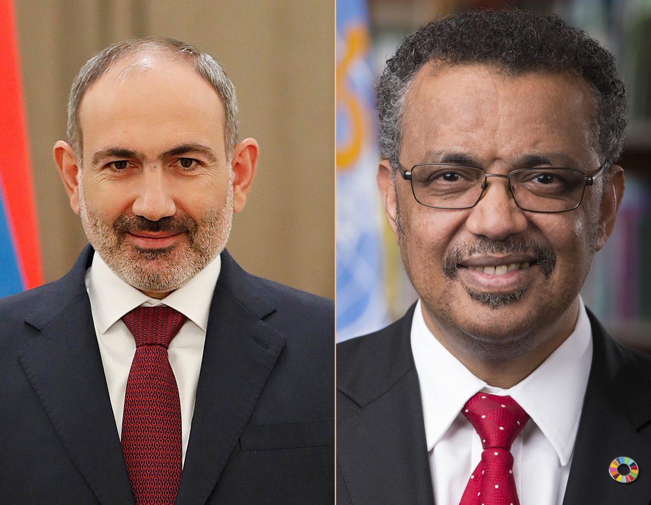 Վարչապետը հեռախոսազրույց է ունեցել ԱՀԿ գլխավոր տնօրեն Թեդրոս Ադհանոմ Ղեբրեյեսուսի հետ