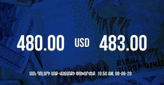 Դրամի փոխարժեքը 10:50-ի դրությամբ – 08/06/20