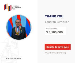 Էդուարդո էռնեկյանը 3,5 միլիոն ԱՄՆ դոլար է նվիրաբերել «Մենք ենք մեր սահմանները» համազգային շարժմանը