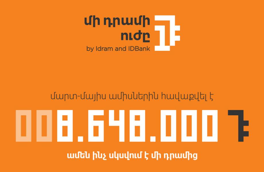 IDbank. Արցախին աջակցող «Մի դրամի ուժը» նախաձեռնության շրջանակներում հավաքագրվել է 8.65 մլն դրամ