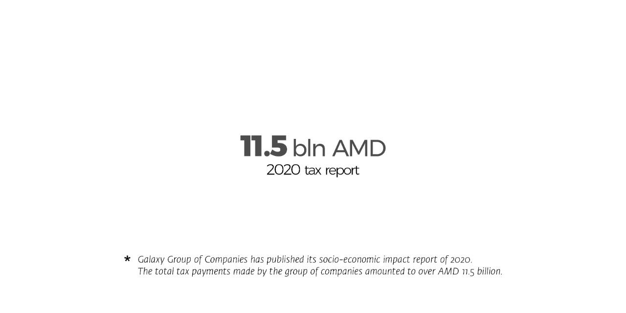 Налоговые платежи группы компаний «Галакси» за 2020 года составили более чем 11,5 млрд драмов