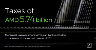 Америабанк. Ведущий налогоплательщик среди армянских банков, согласно результатам второго квартала 2021г.