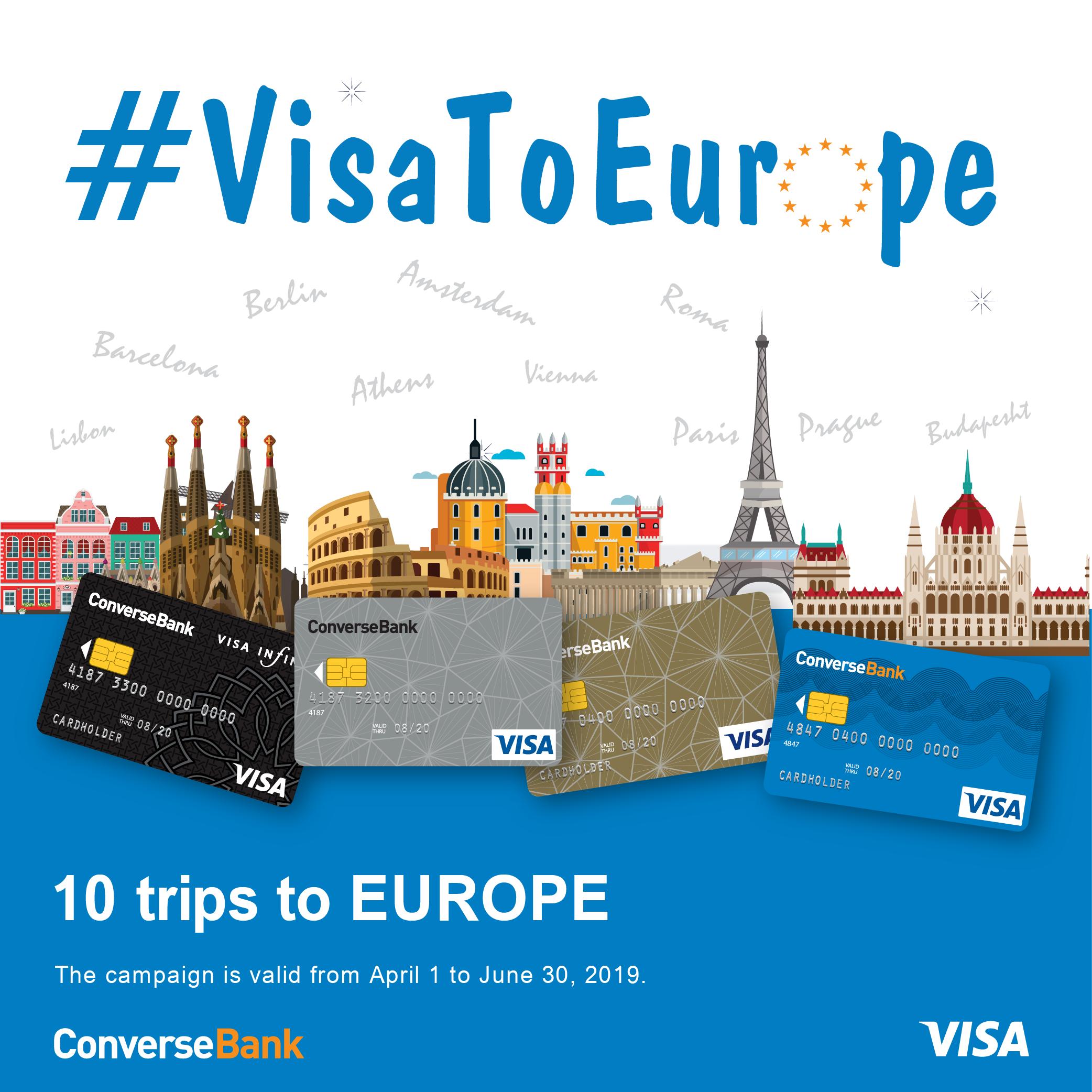 10 поездок в Европу в рамках акции  #VisaToEurope Конверс банка