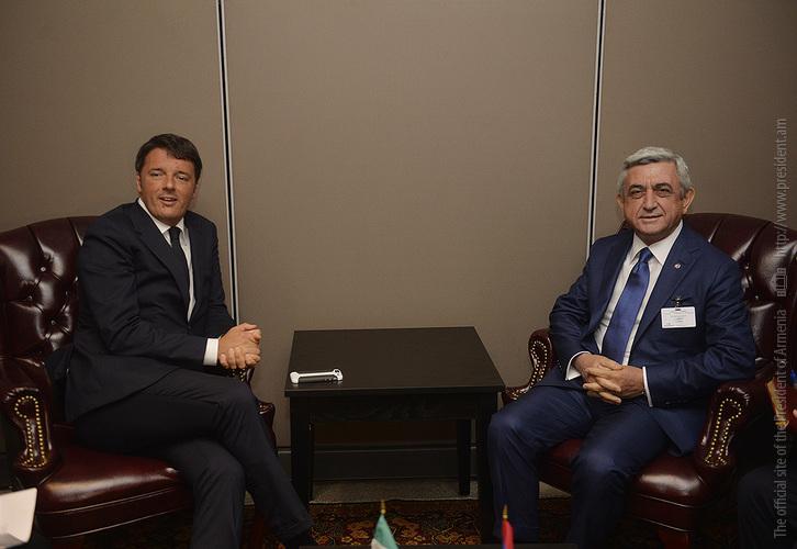 Նախագահ Սերժ Սարգսյանը Նյու Յորքում հանդիպում է ունեցել Իտալիայի եվ Շվեդիայի վարչապետների հետ