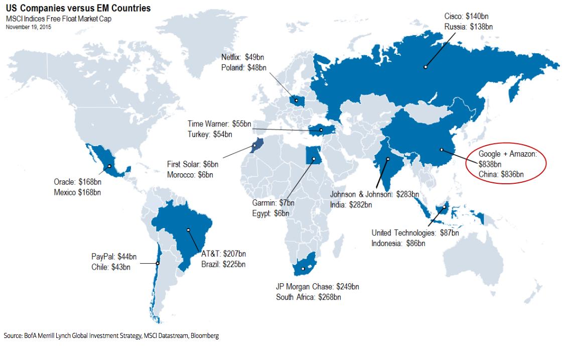 Քարտեզ, որը ցույց է տալիս ԱՄՆ-ի անգերազանցելի տնտեսական հզորությունը