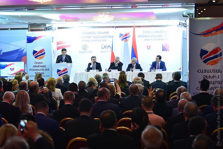 Սերժ Սարգսյանն ու Միլոշ Զեմանը ներկա են գտնվել հայ-չեխական գործարար համաժողովի բացմանը