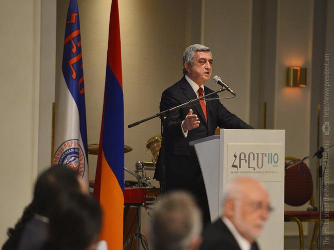 Սերժ Սարգսյանը շնորհավորել է ՀԲԸՄ-ին՝ հիմնադրման 110-ամյակի կապակցությամբ