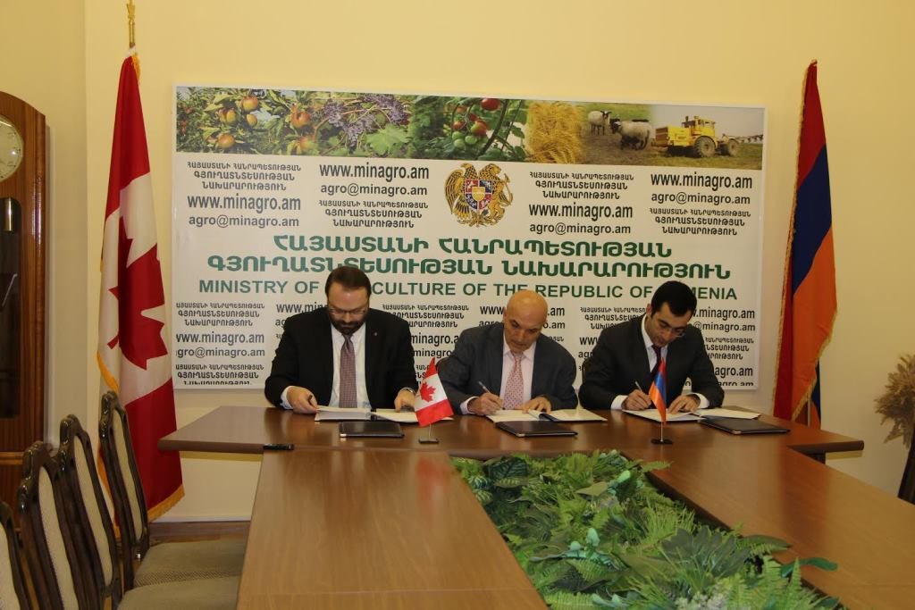 Ստորագրվել է փոխըմբռնման հուշագիր` ուղղված գյուղատնտեսության բնագավառում հայ-կանադական համագործակցության ընդլայնմանը