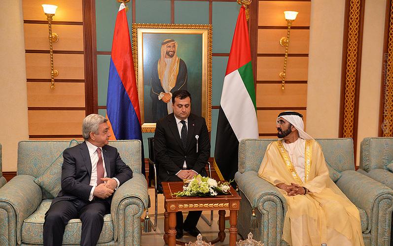 Նախագահ Սարգսյանը հանդիպել է Դուբայի կառավարիչ Շեյխ Մոհամմեդ բին Ռաշիդ Ալ Մաքթումի հետ