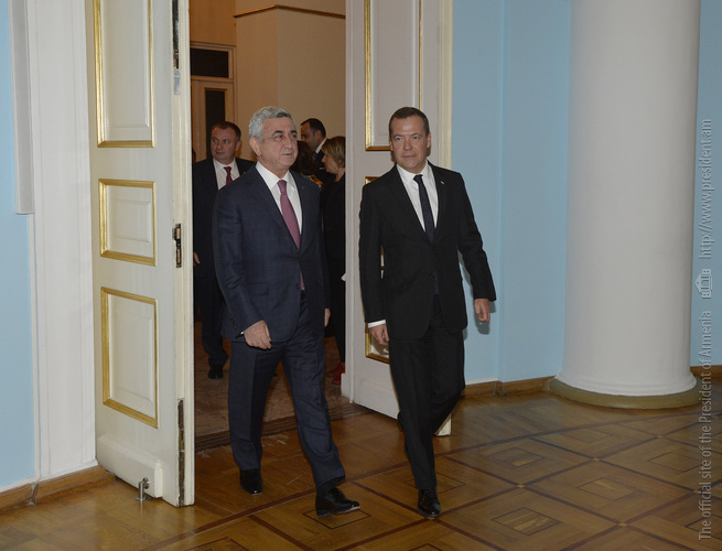 Նախագահն ընդունել է Ռուսաստանի կառավարության նախագահ Դմիտրի Մեդվեդևին