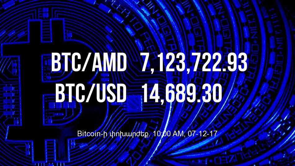 Bitcoin-ի փոխարժեքը մեկ օրում աճել է 15.99%-ով - 07/12/17