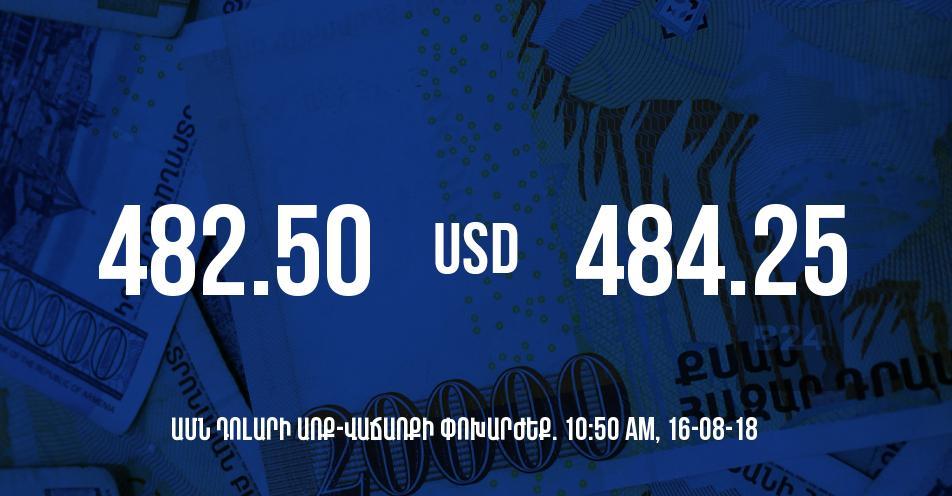 Դրամի փոխարժեքը 10:50-ի դրությամբ - 16/08/18
