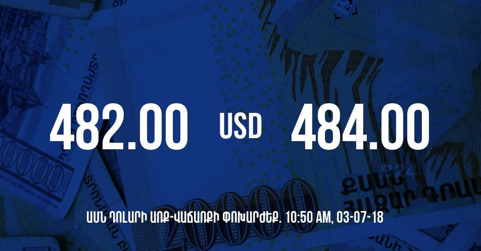 Դրամի փոխարժեքը 10:50-ի դրությամբ - 03/07/18