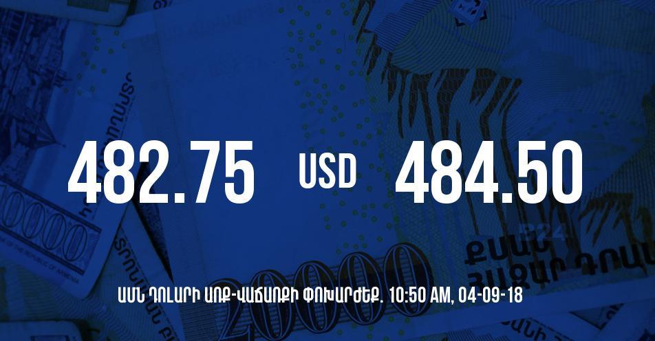 Դրամի փոխարժեքը 10:50-ի դրությամբ - 04/09/18