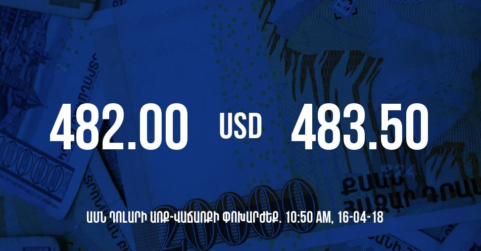 Դրամի փոխարժեքը 10:50-ի դրությամբ - 16/04/18