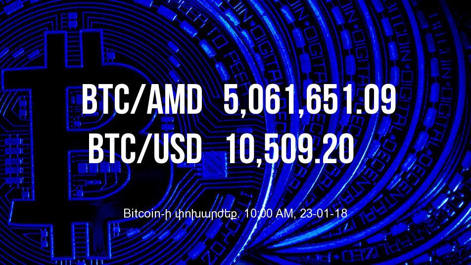 Bitcoin-ի փոխարժեքը նվազել է - 23/01/18