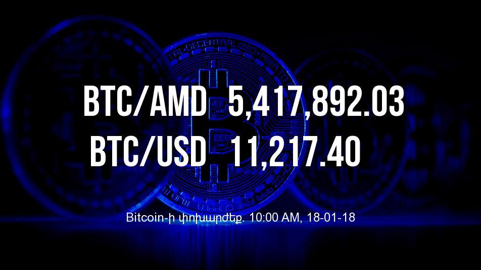 Bitcoin-ի փոխարժեքն աճել է - 18/01/18