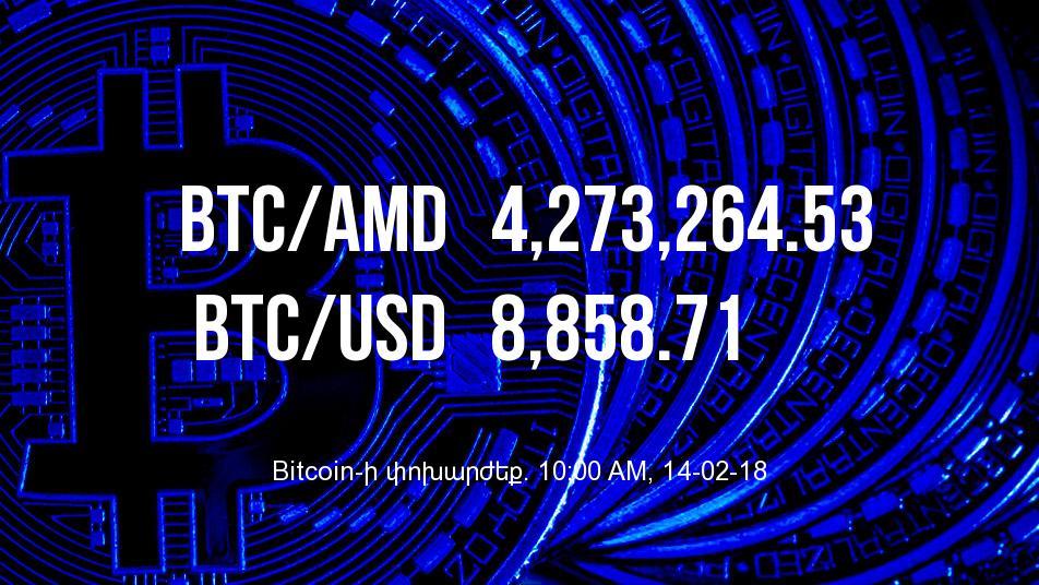 Bitcoin-ի փոխարժեքն աճել է - 14/02/18