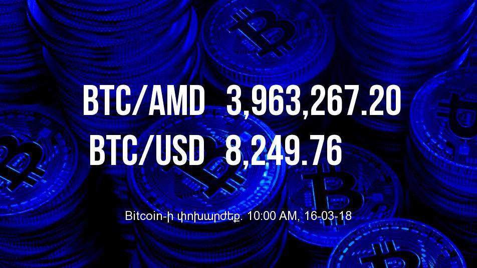 Bitcoin-ի փոխարժեքն աճել է - 16/03/18
