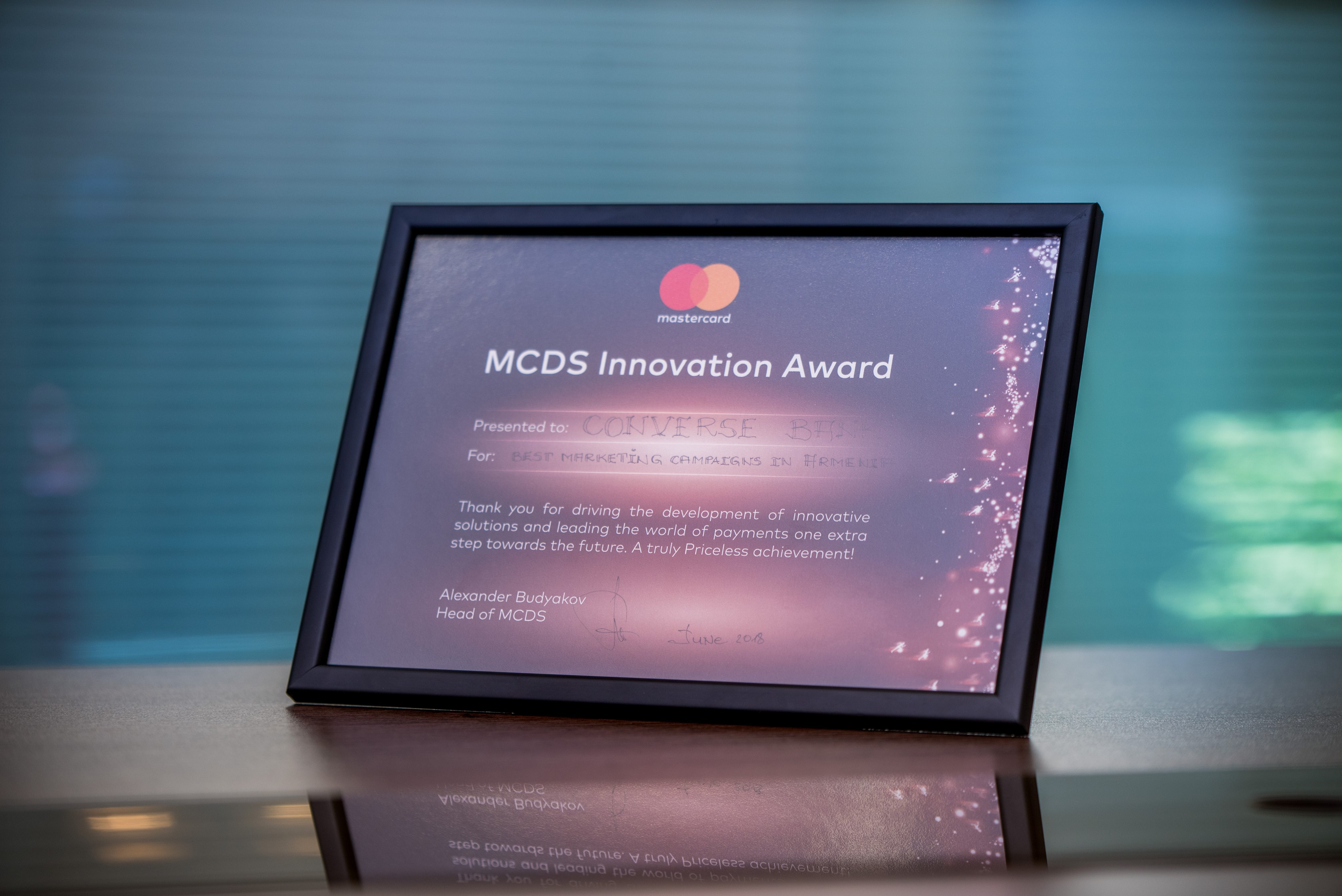 Կոնվերս Բանկին է շնորհվել Mastercard-ի «Լավագույն մարքեթինգային արշավներ Հայաստանում» մրցանակը
