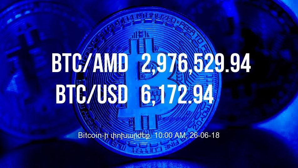 Bitcoin-ի փոխարժեքն աճել է - 26/06/18