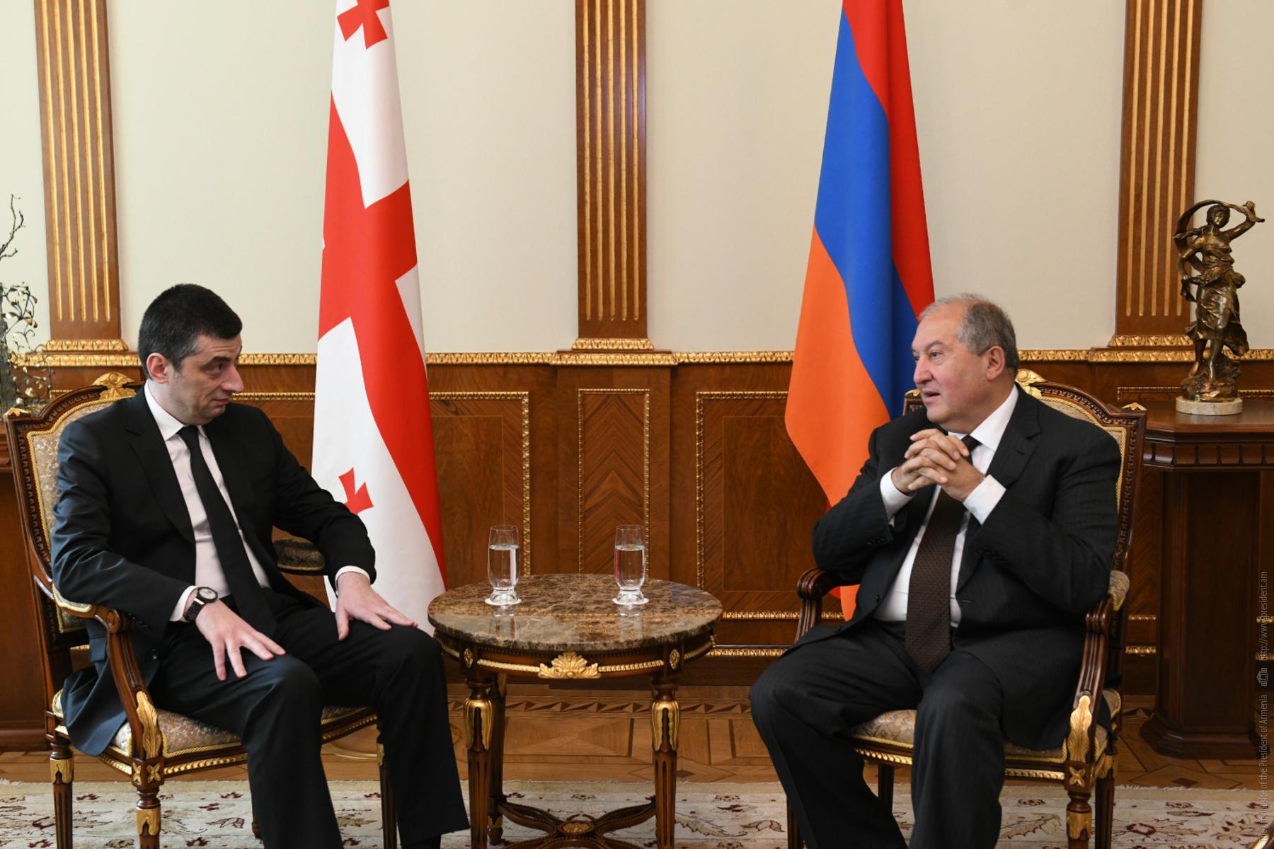 Նախագահ Սարգսյանը հյուրընկալել է Վրաստանի վարչապետ Գեորգի Գախարիային