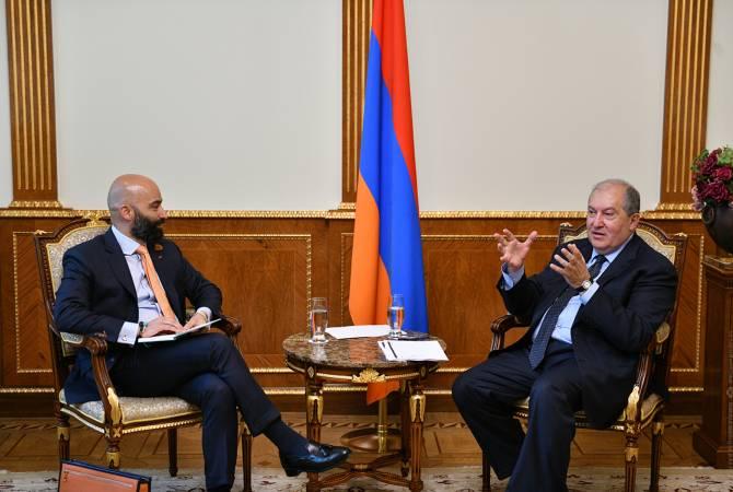 Արմեն Սարգսյանը 3Sixty Strategic Advisors ընկերության տնօրենի հետ քննարկել է Հայաստանի զբոսաշրջության զարգացման հեռանկարները