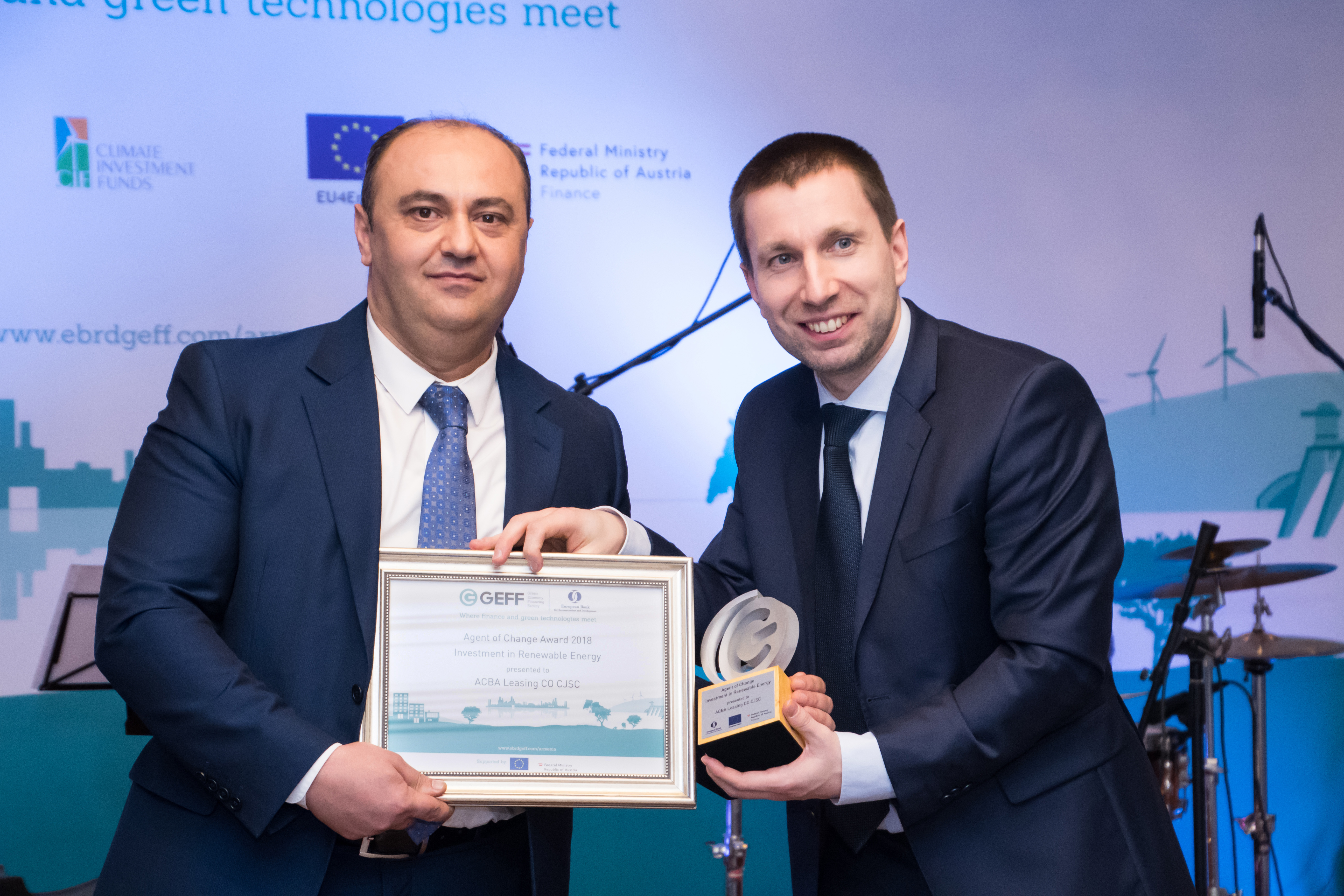 ԱԳԲԱ Լիզինգը վերականգնվող էներգետիկայի ոլորտում իրականացրած ներդրումների համար ՎԶԵԲ-ից մրցանակ է ստացել