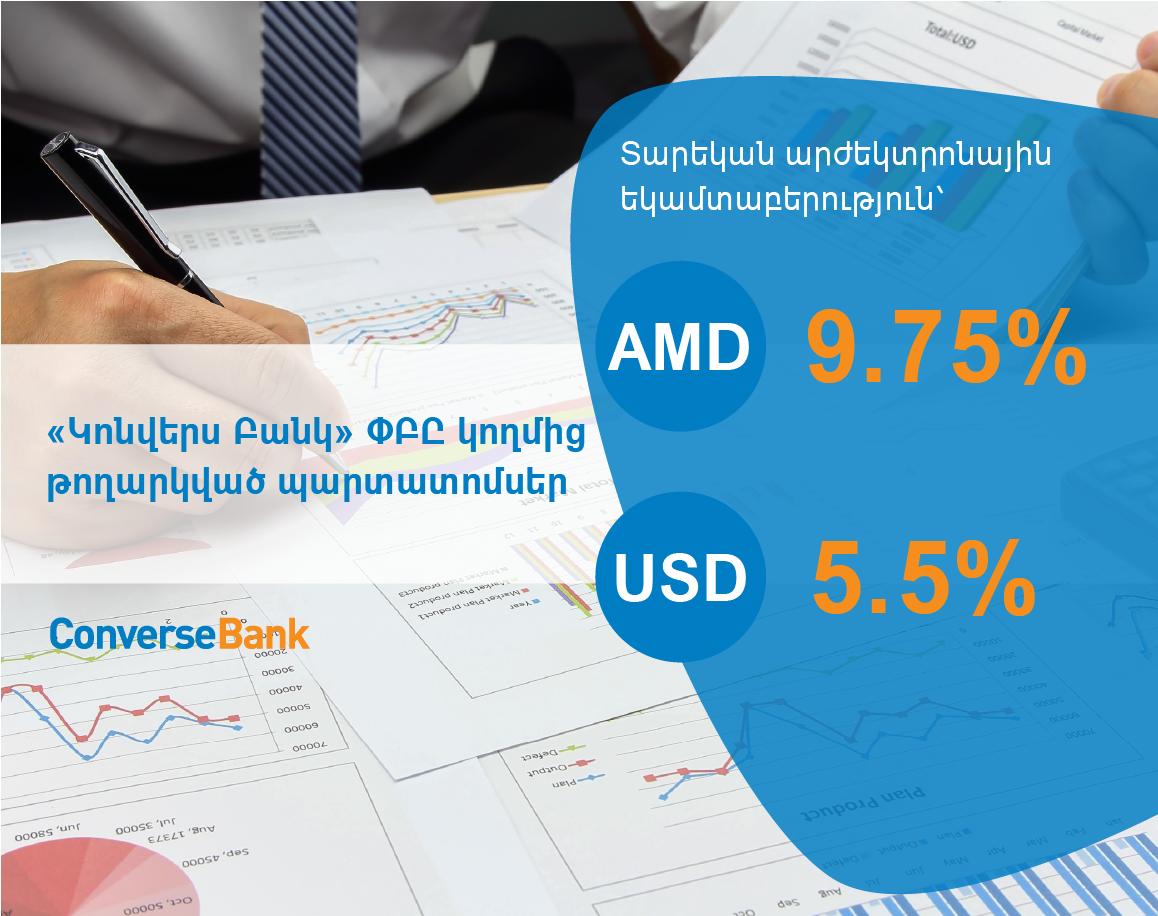 Կոնվերս Բանկ. իրականացվում է դրամային և դոլարային պարտատոմսերի տեղաբաշխում