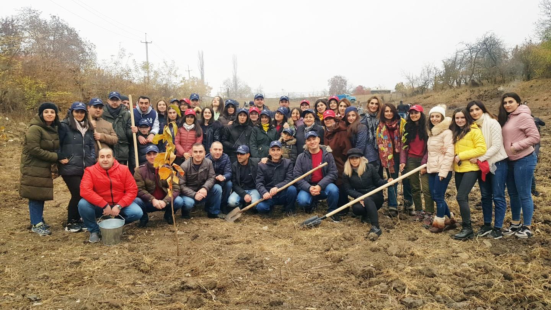 Արմսվիսբանկ. Տավուշի Սևքար համայնքի միջնակարգ դպրոցին հարող տարածքում այգու հիմնման աշխատանքներ են իրականացվել